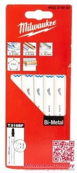 Полотно для лобзиків Milwaukee 105Х2мм,T318BF, для робіт по сталі,алюм.,дерев.з цвяхами,пластика