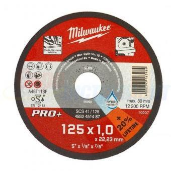 Тонкий відрізний диск по металу PRO+ Milwaukee SC41/125, Ø125ммХ1ммХØ22,5мм,20%LifeTime, HydroProtect